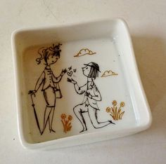 ROSENTHAL STUDIO LINIE RAYMOND PEYNET LOVERS CERAMIC SQUARE DISH - GERMAN