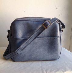Vintage Slate Gray Blue Vinyl Carry On Overnight Bag on Etsy, $15.00