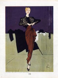 René Gruau, Evening dress by Marcel Rochas, 1946