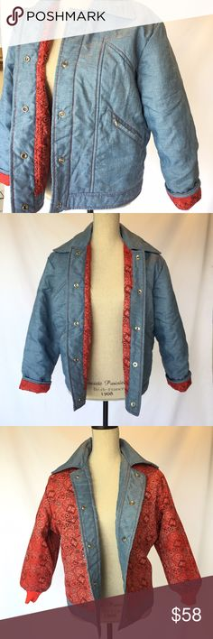 Vintage Chambray red bandana jacket XL reversible Windset brand  Windbreaker puffy style  Chambray blue with heavy red stitching  Reversible to red bandana print  Zipper pockets on front  Snap button closure on both sides  Perfect condition  Red tight bands around wrists  Size large -XL (see measurements)  Measurements:  Length: 26 in  Shoulder: 18 in  Sleeve: 21 in  Armpit to armpit: 24 in  Waist: 21 in vintage Jackets & Coats Puffers