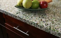 recycled glass countertop.  yes please