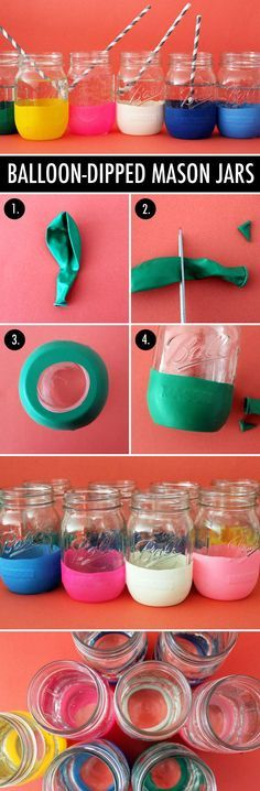 DIY Balloon-Diped Mason Jars!! Change up the color for any holiday or party. Takes five minutes tops!!