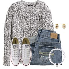 Nice and cool out right now:) by flroasburn on Polyvore featuring H&M, Converse, Tory Burch and Abercrombie & Fitch