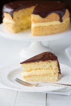 Classic Boston Cream Pie recipe from RecipeGirl.com