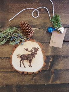Wood Slice Ornament, Moose, Christmas Tree Ornament, Wood Burned Ornament, Holiday Decor, Rustic Holiday Ornament