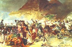 """Mamluk cavalry at the Battle of the Pyramids. At about 3:30 pm, the Mamluk cavalry hurled itself at the French without warning. The divisional """"squares"""" of Desaix, Reynier and Dugua held firm and repelled the horsemen with point-blank musket and artillery fire."""