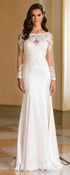 Fabulous Tulle & Acetate Satin Bateau Neckline Sheath Wedding Dresses With Beaded Lace Appliques