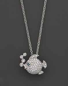 Diamond Fish Pendant In 14K White Gold, .25 ct. | Bloomingdale's