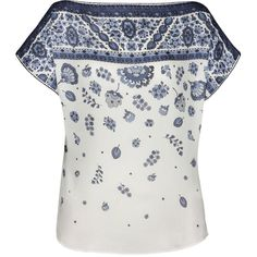 Lena Hoschek Cassis Provence Bleu Top (5,730 MXN) ❤ liked on Polyvore featuring tops, short sleeve tops, white short sleeve top, relaxed fit tops, white tops y print top