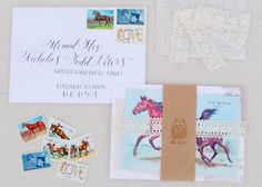 Vintage Equestrian Wedding Invitations--it's the calligraphy that I adore. And those stamps.