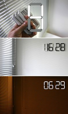 """15 idee che dimostrano che """"less is more"""" Gadgets And Gizmos, Cool Gadgets, Wall Clock Digital, White Clocks, Design Minimalista, Led Neon Signs, Room Setup, Cool Inventions, Deco Design"""