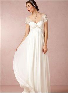 Elegant Empire V Neck Short Sleeve Long Wedding Dress