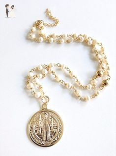 Rosary Style St Benedict Medal Necklace - Wedding nacklaces (*Amazon Partner-Link)