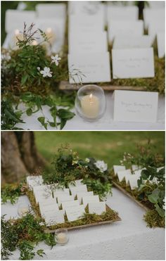 Nature table decorated with moss and greenery, simple white handwritten escort cards, woodland reception // Helena + Laurent Photography