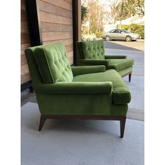 Mid-Century Green Velvet Lounge Chairs- a Pair Living Room Green, Formal Living Rooms, My Living Room, Living Room Chairs, Green Velvet Armchair, Velvet Lounge, Green Lounge, Green Chairs, Cool Chairs