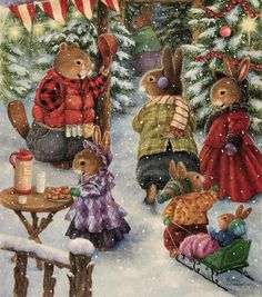 Holly Pond Hill ' modern new unposted postcard by Susan Wheeler Susan Wheeler, Christmas Illustration, Book Illustration, Beatrice Potter, Bunny Painting, Bunny Art, Woodland Creatures, Peter Rabbit, Whimsical Art