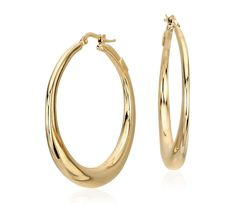Blue Nile Vertical Stretched Hoop Threader Earrings in 14k Italian Yellow Gold QMk2PEr
