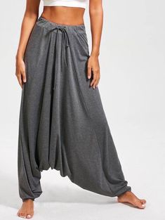 """"""""""" Drawstring Waist Drop Bottom Harem Pants """""""" Cheap Fashion online retailer providing customers trendy and stylish clothing including different categories such as dresses, tops, swimwear. Yoga Harem Pants, Dance Pants, Harem Trousers, Baggy Pants, Long Pants, Look Fashion, Fashion Pants, Womens Fashion, Cheap Fashion"""