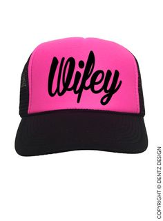 "Use coupon code ""pinterest"" Wifey - Hot Pink and Black Trucker Hat by DentzDesign"