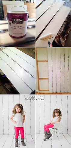 Photographer Kelly Allan created this DIY wood backdrop and floordrop for her studio. She says its more durable than canvas and paper backdrops, which she still uses. As a bonus she also shows her clever way of storing the paper backdrops to keep them in good shape.    /kelly_allan/