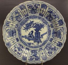 A Ming Porcelain Blue and White Kraak Ware Dish from the Hatcher Cargo of c.1643.