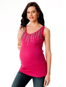 Sleeveless Scoop Neck Embellished Maternity Tank Top
