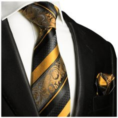 Gold and Black Silk Tie and Pocket Square . Paul Malone Red Line