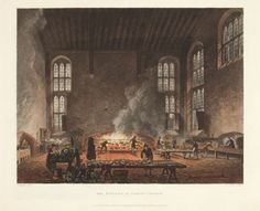ACKERMANN, Rudolph. The Kitchen at Christ Church.  Original hand-coloured aquatint for Vol II of Ackermann's History of the University of Oxford, 1814. 250 x 300 mm.