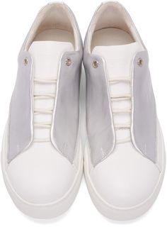 Issey Miyake Men Silver Fly Front Sneakers