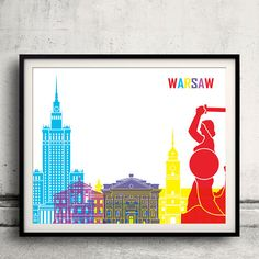 Warsaw pop art skyline  Fine Art Print Glicee Poster by Paulrommer