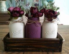 SALE Large Mason Jar Centerpiece Table by AllThatsRustic on Etsy