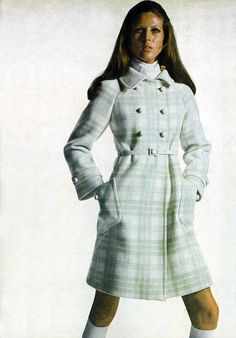 Photo by Bert Stern Vogue 1969 white coat wool plaid double breasted belt mini dress late 60s era vintage fashion style to early 70s looks hairstyle socks