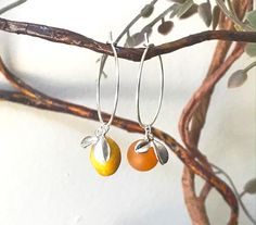 Bali 24K Gold Medallion Bead Ear Wires Vintage Japanese FRIT ART GLASS Bright Orange Blue Glass Bead Earrings Iridescent Green Dangle Drop