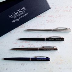 Nothing says quality like a Waterford® pen! From the makers of fine Irish crystal, this Personalized Arcadia model is classy and elegant and perfect for the man or woman who requires a reliable writing instrument.   The ball point style makes it easy to use and refill. Fashioned from first-class components and craftsmanship, the pens are made of enameled brass and available in four stylish colors.