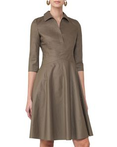 3/4-Sleeve Crossover-Waist Shirtdress, Taupe by Akris punto at Neiman Marcus.