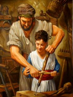 Joseph and Jesus as a boy - Matthew Is this not the carpenter's son? Is not his mother called Mary, and his brothers James and Joseph and Simon and Judas? Pictures Of Christ, Religious Pictures, Bible Pictures, Jesus Face, God Jesus, Baby Jesus, San Joseph, Spiritual Photos, Jesus Photo