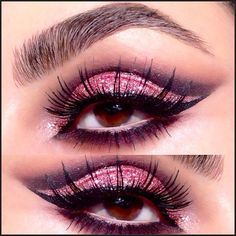 Winged out party eyes Using @anastasiabeverlyhills eyeshadows in Black Diamond and Pink Sapphire and #mac pink glitter. Lashes are @elsadorafalseeyelashes H154 and I used #anastasiabeverlyhills brow powder duo in medium brown - @nikki_makeup- #webstagram