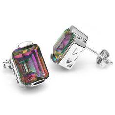 Emerald Cut Natural Rainbow Fire Mystic Topaz Earrings Stud