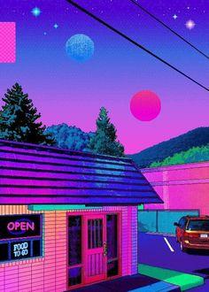 vaporwave sunset O P E N Vaporwave Wallpaper, Trippy Wallpaper, Cool Wallpaper, Art Vaporwave, Japon Illustration, Neon Aesthetic, Retro Waves, Photo Wall Collage, Retro Art
