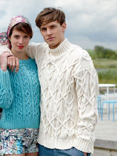 Knit this mens cable sweater from the Softknit Collection, a design by Martin Storey using Softknit Cotton.