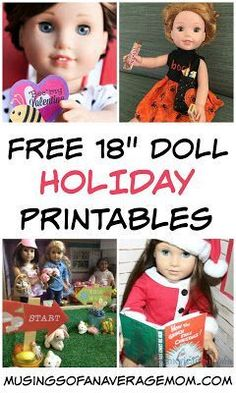 Holiday Printables for Dolls - Free My Life, American Girl or other Dolls Holiday printables – including Christmas, Hallow - American Girl Outfits, American Girl Crafts, American Girls, American Girl Halloween, Girl Doll Clothes, Girl Dolls, Baby Dolls, Barbie Clothes, Dolls Dolls