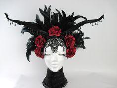 Gothic Flower Fairy magic horns headdress black red Flower Crown Viktorian Vampir Headpieces  Mythical by KopfTraeume on Etsy https://www.etsy.com/au/listing/235441631/gothic-flower-fairy-magic-horns