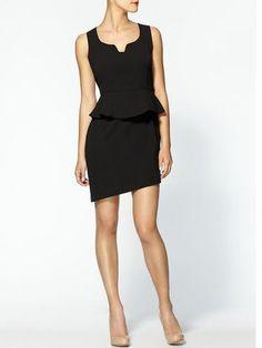 A classic black dress gets updated with a peplum waist.