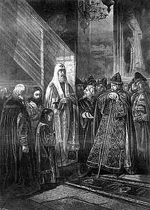 Saint Phillip (Metropolitan Phillip II of Moscow) refuses to bless, and publicly rebukes, Ivan the Terrible. Sunday of the Veneration of the Cross, March 1568 Exotic Art, Drawings, Painting, Sunday, Sketches, Domingo, Paintings, Sketch, Drawing