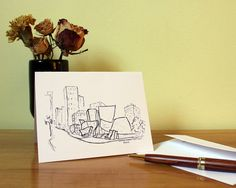 Greeting card printed with an original sketch of the Walt Disney Concert Hall in Los Angeles, CA. This modern card is perfect for Thank You notes, holiday greetings, and personalized messages for all special occasions!
