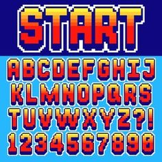 Pixel retro font Video computer game design 8 bit letters and numbers Electronic futuristic style Vector abc Video Game Font, Pixel Art, Letras Cool, Letras Tattoo, 8 Bits, Pixel Games, Retro Font, Retro Design, Letters And Numbers
