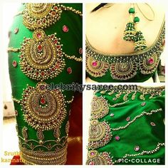 Kundan work blouse designs, Elbow length blouse designs and Latest saree blouse designs are the trends which are go to go for any special occasion or event. Wedding Saree Blouse Designs, Pattu Saree Blouse Designs, Designer Blouse Patterns, Fancy Blouse Designs, Blouse Neck Designs, Sari Blouse, Hand Work Blouse Design, Stylish Blouse Design, Maggam Work Designs