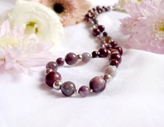Natural mookaite and bloodstone necklace with 925 sterling silver *Free worldwide shipping*