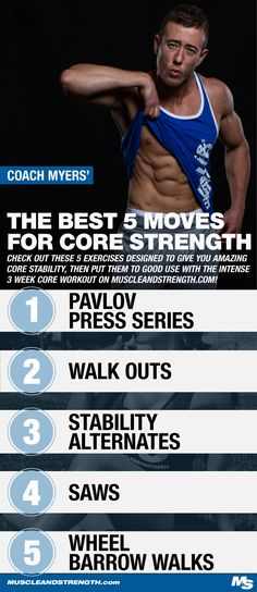Coach Myers' is back at it and just in time to help you build your core for summer! Check out his top 5 core exercises and these progressive core workouts!
