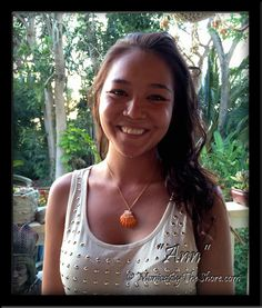 """Ann"" will be returning to Washington state from her Hawaiian vacation with one of biggest, brightest tangerine colored Sunrise Shells I've ever had the pleasure to create with! And she wore the perfect shirt when she visited my studio, with all those gold studs :) What a stunningly beautiful match, I'm so happy this very special shell got the perfect new owner ♥ Aloha Ann~ MonicaByTheShore Parker - Google+"